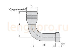 Соединения всасывания 90° для насосов Parker F1, F2