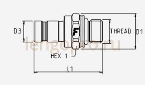 Быстроразъёмное соединение ниппель DF male диагностическое схема